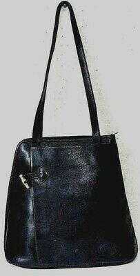 LONGCHAMP VINTAGE SHOULDER Roseau Black-Navy Leather Handbag ... 254dcfea08e6d