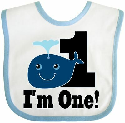 Inktastic 1st Birthday Boy Whale One Year Old Baby Bib First 1 Fish Cute Childs
