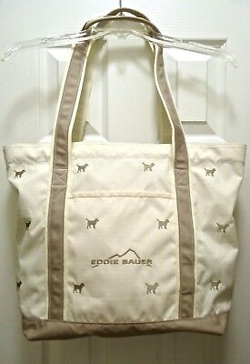 Tote with Embroidered Dog Embellishments Woven Off White & Tan Eddie Bauer