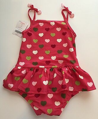 Gymboree Girls 2T Pink Swimsuit Multicolored Hearts Sunscreen UPF 50+ 1 piece