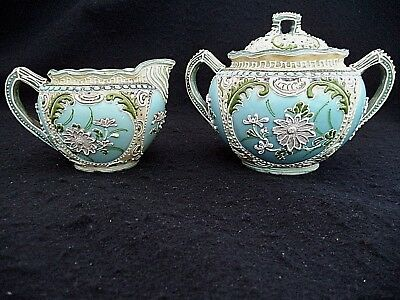 Nippon china cream pitcher sugar bowl elaborate Moriage slip-trailing flowers