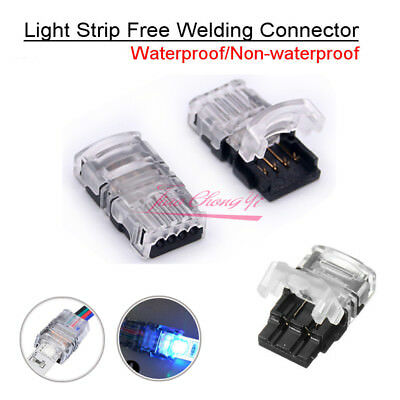 Solderless Clip-on Connector 2/4pin RGB For 3528 2835 5630 5050 LED Strip Light