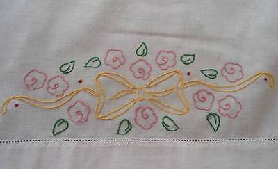 """Vintage Table Runner Yellow Embroidered Bows Pink Flowers 43"""" Splasher Towel"""