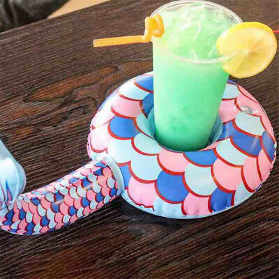 Mermaid Swimming Inflatable Floating Boat Drink Can Cup Holder Bath Beach Toy NW