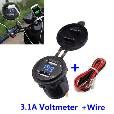 Motorcycle Dual USB Charger Socket 3.1A Blue LED Voltmeter&Wire In-line 10A Fuse