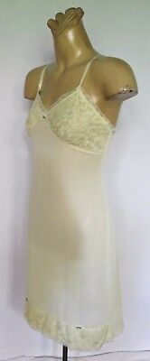 SLIP Genuine 1960's VINTAGE Sz W Lemon Lace PETTICOAT Knee length Feminine Retro