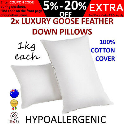New 2 x LUXURY GOOSE FEATHER DOWN PILLOW Bed Cushion Cotton Cover Twin Pack Set