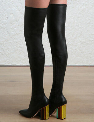 Zimmermann Stretch Thigh Boots Black Black Leather, Sock,Point, Block |$1,795 RP