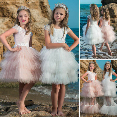 2 Way Short /Long Style Girls Dress Skirt Kids Formal Dress Wedding Lace 2 to 13
