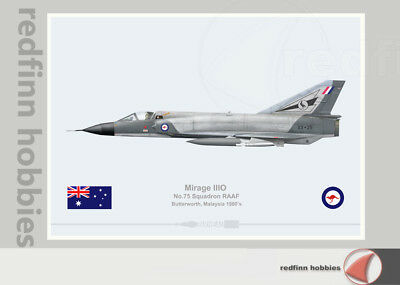 Warhead Illustrated Mirage IIIO RAAF 75Sqn Butterworth A3-25 Aircraft Print