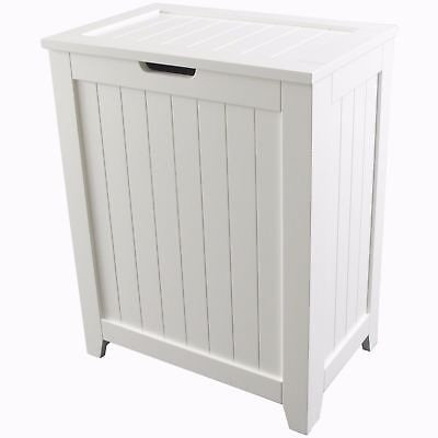 Wooden Laundry Hamper White Basket Washing Bin Clothes Organizer Sorter Storage