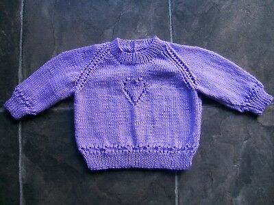 BN Baby Girl's Hand Knitted Lilac Jumper Size 00