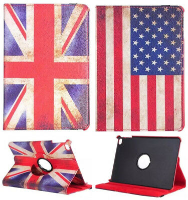 360° Rotating Swivel Cover PU Leather Stand Case Retro Flag For Apple iPad Tab