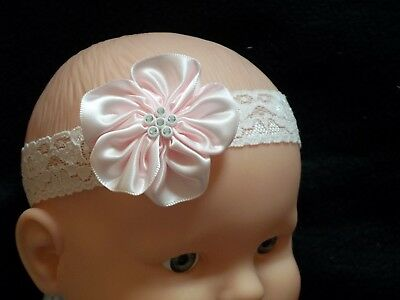 Brand New Baby Girls Pink Stretchy Lace Flower Headband Christening Parties