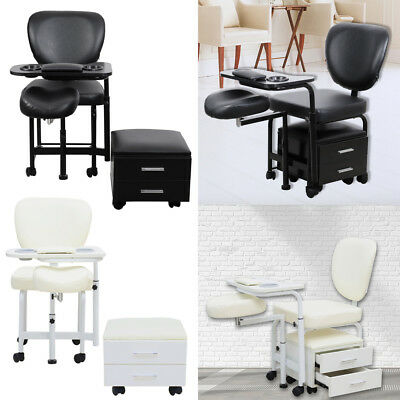 Mobile Beauty Salon Manicure Nail Table Desk Pedicure Workstation Stool Wheels