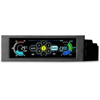 """5.25"""" PC 5 Channel Fan Automatic Speed Controller & LCD Monitor Front Panel Q6P4"""