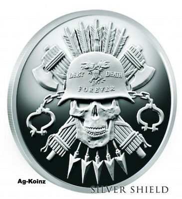 1 oz 2017 MOTO D&D Proof - Death of the Dollar #12 Silver Shield 999 US Military
