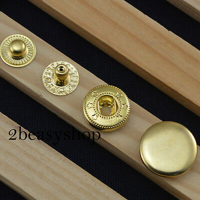 Gold 15 Sets 10/12.5/15/17mm Metal Snaps Fasteners Press Studs Clothing Buttons