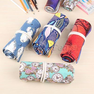 36/48/72Holes Roll Up School Pencil Case Wrap Pen Case Holder Stationery 4 Style