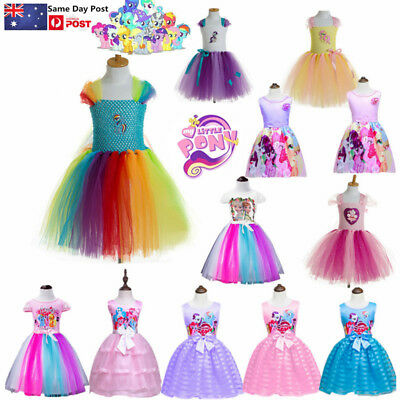AU Kids Girls Princess Dress My Little Pony Anime Summer Party Costume Halloween