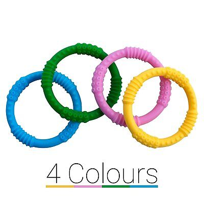Baby Teether Rings [4 Colors] Soother Infant Teething Toy – Dental Molar Best