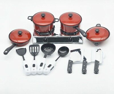 13Pcs Kitchen Utensils Cooking Pots Pans Food Dishes Cookware Kids Toy Xmas Gift