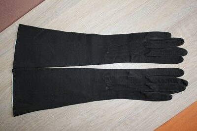 REAL KID LEATHER SUEDE LONG BLACK GLOVES  SIZE 6.5 Small - 38 cm Long