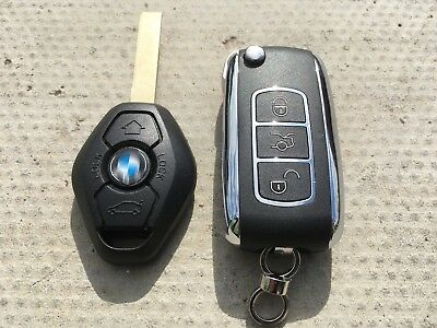 Bmw 3 Series E46 X3 X5 Remote Flip Key Fob Chrome Upgrade WITH CHIP 433mhz