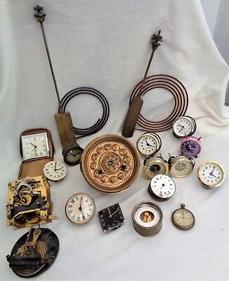 Job Lot Antique Clock & Watch Parts Spares Repair