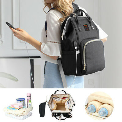 USB-Charge Large Multifunctional Mammy Backpack Baby Diaper Nappy Bag Waterproof
