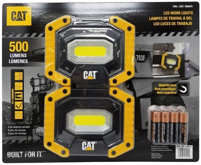 [2 PACK] CAT LED Work Lights 500 Lumens | Rugged, Magnetic, Rotating Handle