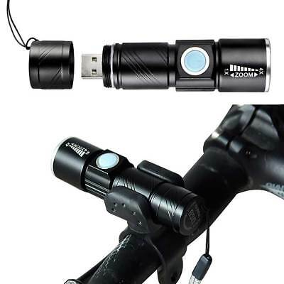 LED Lamp Cycling Bicycle MTB Bike USB Rechargeable & Front Rear Tail Light Set