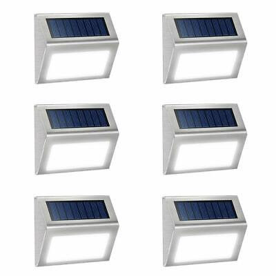 Waterproof 6pcs Solar Powered LED Fence Pathway Garden Lights Wall Deck Lighting