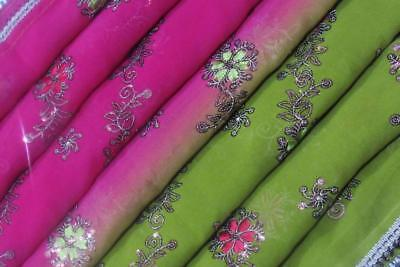 Green Embroidered Indian Vintage Dupatta Sequins Veil Scarf Hijab Women Stole