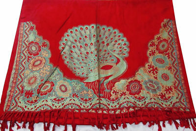 Peacock Woven New Indian Wool Pashmina red Scarf Stole Warm Wrap