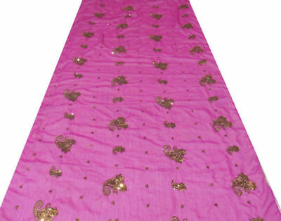 Embroidered Purple Vintage Dupatta Sequins Indian Veil Scarf Hijab Women Stole