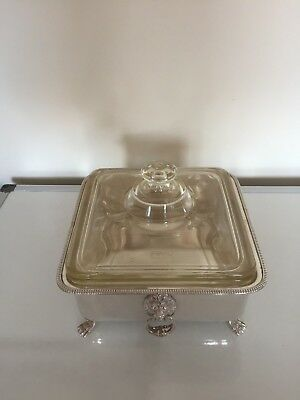 Lovely Lidded Pyrex Dish On A 2 Lion Handled Silver Plated Stand On 4 Paw Feet