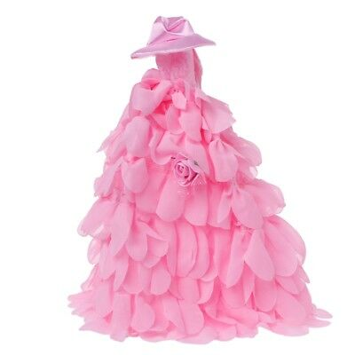 For Barbie Doll Evening Dress Doll Clothes Hat Pink Romantic Wedding Dress Hot