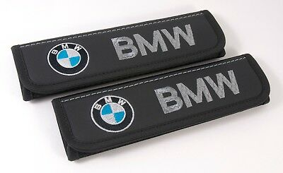 Car Seat Belt Leather Shoulder Pads Covers BMW Embroidery Logo