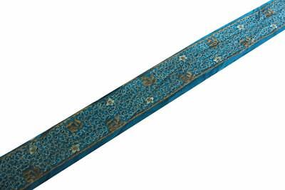 "3""W Vintage Indian Sari Border Used Embroidered Trim 5Y Women Blue Ribbon Lace"