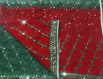 Embroidered Maroon Vintage Dupatta Sequins Indian Veil Scarf Hijab Women Stole