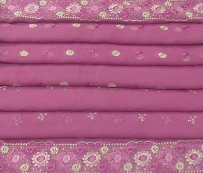 Pink Indian Traditional Vintage Dupatta Sequins Veil Scarf Hijab Women Stole