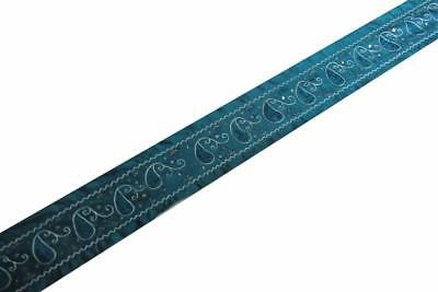 """2.5""""W Vintage Indian Sari Border Used Embroidered Trim 1Y Women Blue Ribbon Lace"""