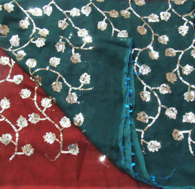 Green Embroidered Vintage Dupatta Sequins Indian Veil Scarf Hijab Women Stole