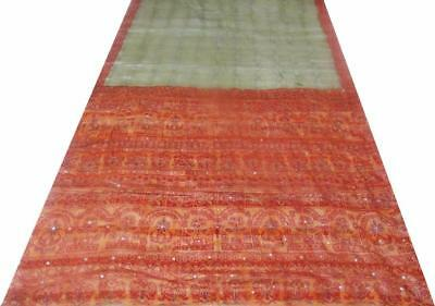 Indian Traditional Beige Vintage Sari Pure Silk Saree Check Woven Craft