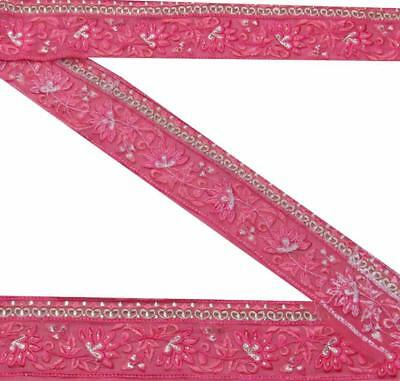 "3""W NEW Indian Sari Border Embroidered Floral  Trim 4Y Women Pink Ribbon"