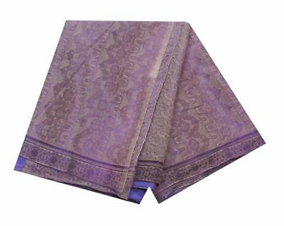 Indian Traditional Purple Vintage Sari Georgette Saree Floral Woven Craft