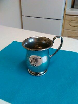 Antique Silver Plated and Engraved 4oz Tankard/Measure (626)