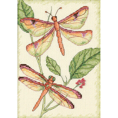 """Dimensions Dragonfly Duo Mini Counted Cross Stitch Kit-5""""X7"""" 14 Count"""