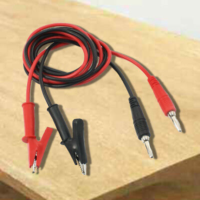 1M Long Alligator Clip to Banana Plug Test Cable Pair for Multimeter C2J4